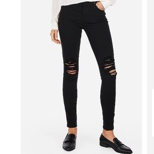 🌺 Express High Waisted Black Ripped Jean Leggings